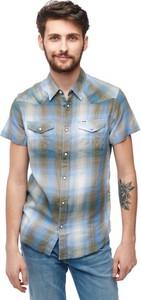 Niebieska koszula Wrangler w stylu casual z krótkim rękawem