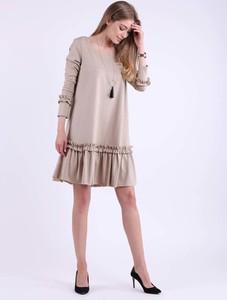 Sukienka Nommo mini z okrągłym dekoltem z bawełny