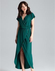 Zielona sukienka LENITIF z dekoltem w kształcie litery v maxi z krótkim rękawem