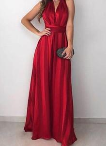 Czerwona sukienka Cikelly maxi z dekoltem w kształcie litery v