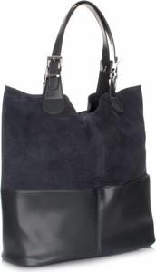 Granatowa torebka GENUINE LEATHER w stylu casual duża na ramię