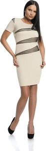Sukienka Fokus asymetryczna z okrągłym dekoltem z krótkim rękawem