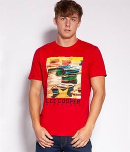 T-shirt Lee Cooper z nadrukiem w młodzieżowym stylu z dzianiny