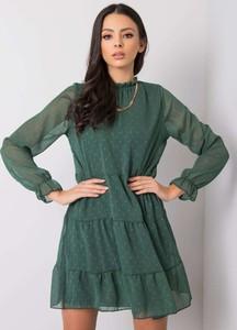 Sukienka Sheandher.pl z okrągłym dekoltem mini z długim rękawem