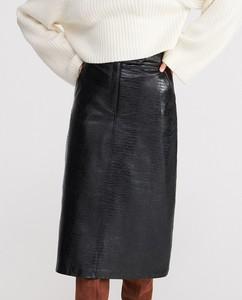 Czarna spódnica Reserved ze skóry midi