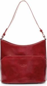 Czerwona torebka Vera Pelle na ramię duża w stylu casual
