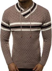 Brązowy sweter ozonee.pl z dzianiny w młodzieżowym stylu