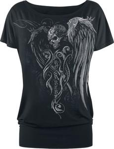 Czarny t-shirt Emp z nadrukiem w młodzieżowym stylu z krótkim rękawem