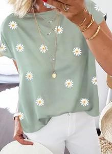 Bluzka Sandbella z okrągłym dekoltem z krótkim rękawem