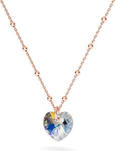 GIORRE ZŁOCONY NASZYJNIK Z KRYSZTAŁEM SWAROVSKIEGO SERCE : Kolor kryształu SWAROVSKI - Crystal AB, Kolor pokrycia srebra - Pokrycie Różowym 18K Złotem
