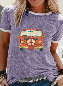 Fioletowa bluzka Sandbella z krótkim rękawem