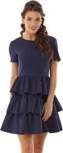 Niebieska sukienka Ella Dora z krótkim rękawem z okrągłym dekoltem