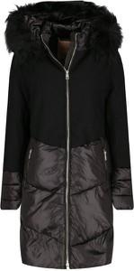 Czarna kurtka Liu-Jo z wełny długa