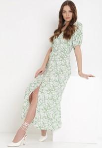 Miętowa sukienka born2be z krótkim rękawem