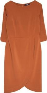 Pomarańczowa sukienka ECHO z okrągłym dekoltem w stylu casual mini
