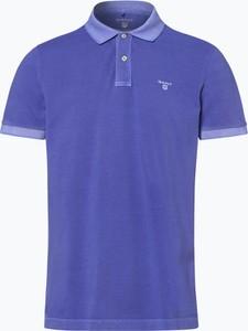 Fioletowa koszulka polo Gant z bawełny z krótkim rękawem