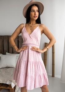 Różowa sukienka Latika z dekoltem w kształcie litery v z bawełny na ramiączkach