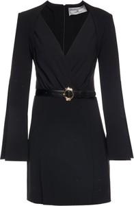 Czarna sukienka Elisabetta Franchi z dekoltem w kształcie litery v kopertowa mini