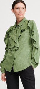 Zielona koszula Reserved z żakardu