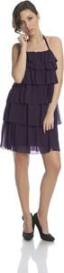 Granatowa sukienka Fokus mini z szyfonu