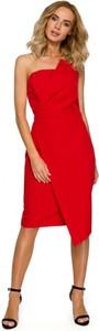 Czerwona sukienka MOE bez rękawów midi z dekoltem w kształcie litery v