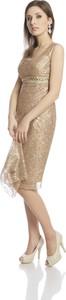Sukienka Fokus bez rękawów z tkaniny z okrągłym dekoltem