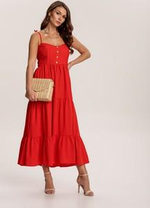 Czerwona sukienka Renee z dekoltem w kształcie litery v trapezowa w stylu boho