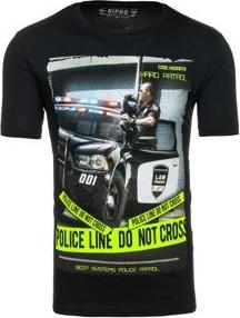 Czarny t-shirt Denley z krótkim rękawem z bawełny