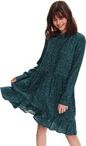 Zielona sukienka Top Secret w stylu casual koszulowa z długim rękawem