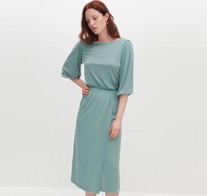 Zielona sukienka Reserved mini z krótkim rękawem w stylu casual