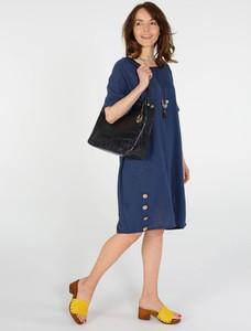 Granatowa sukienka Unisono z bawełny z długim rękawem w stylu casual