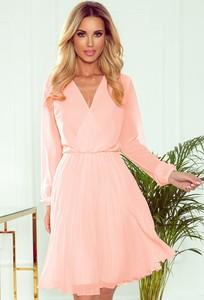 Sukienka NUMOCO z długim rękawem mini z szyfonu