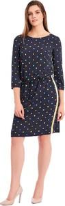 Granatowa sukienka POTIS & VERSO z okrągłym dekoltem z tkaniny
