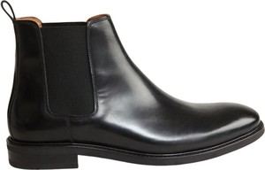 Czarne buty zimowe Anthology Paris ze skóry
