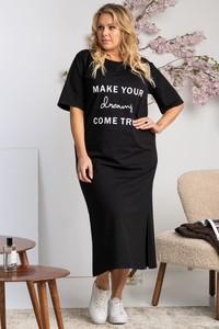 Czarna sukienka KARKO dla puszystych z krótkim rękawem z dresówki