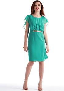 Turkusowa sukienka POTIS & VERSO z okrągłym dekoltem z krótkim rękawem