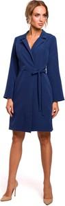 Niebieska sukienka MOE kopertowa z dekoltem w kształcie litery v z długim rękawem