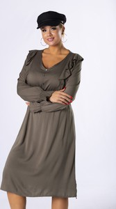 Zielona sukienka Moda Dla Ciebie z długim rękawem midi