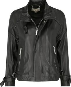 Czarna kurtka Michael Kors w rockowym stylu krótka ze skóry