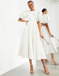 Sukienka Asos z krótkim rękawem z okrągłym dekoltem midi