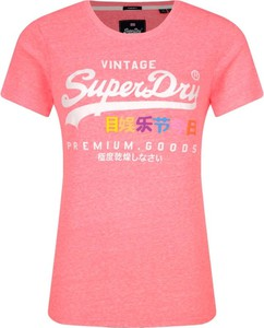 Różowy t-shirt Superdry z krótkim rękawem z okrągłym dekoltem