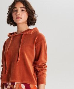 Pomarańczowa bluza Cropp z weluru krótka