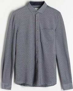 Granatowa koszula Reserved z długim rękawem w stylu casual