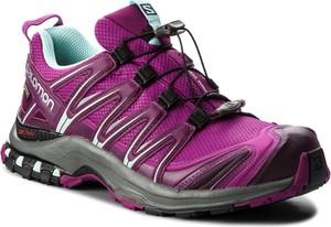 Fioletowe buty sportowe Salomon ze skóry ekologicznej w sportowym stylu