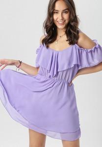 Fioletowa sukienka born2be rozkloszowana mini w stylu casual