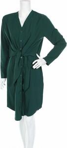 Zielona sukienka LENITIF z dekoltem w kształcie litery v w stylu casual z długim rękawem