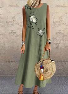 Zielona sukienka Arilook z bawełny w stylu casual z okrągłym dekoltem