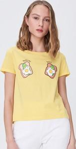 Żółty t-shirt Sinsay z okrągłym dekoltem