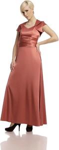 Czerwona sukienka Fokus maxi z krótkim rękawem gorsetowa