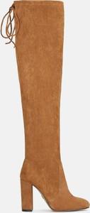 Brązowe kozaki Kazar ze skóry na zamek za kolano